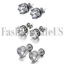 6pc Vintage Stainless Steel 10mm Round CZ Men's Unisex Royal Crown Stud Earrings