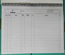 "Phone Call Log Book 50 - 2 Sided Spiral Bound - 8.5 x 11"" Pad White Cover"