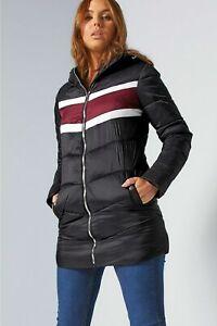 New Womens Studio Basic Padded Colour Block Coat Jacket Multi UK 18 (L3)