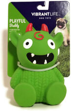 """Vibrant Life Halloween Monster Fetch Chew Squeaky Dog Toy Boy Girl Pup Green 4"""""""