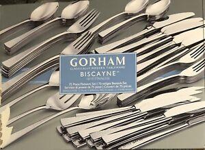 Lenox Gotham Biscayne Flatware 75 Piece Service For 12