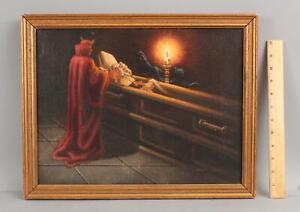 1974 Original JULIAN LANDA Surreal Oil Painting, DEVIL & POPE in Coffin, Spirit