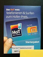 HoT (Hofer Telekom) ANONYME Pre Paid Diskont SIM Karte aus Österreich NEU