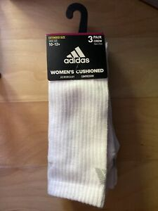 New ADIDAS Women Cushioned 3-Pack Compression Athletic Socks L SS 10-12