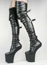 Fetish Heelless Boot Knee-high Gothic Lace-up Platform Hoof Ballet Patent UK Sz