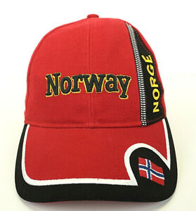 Norway Norge Adult Embroidered Baseball Cap Hat by Rokk Red Black Adjustable
