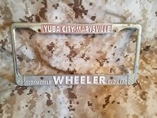 Marysville-Yuba City Dealership License Plate Frame Metal CADILLAC olds wheeler