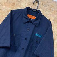 Vintage RED KAP Workwear Work Short Sleeve Shirt Navy Blue USA XL