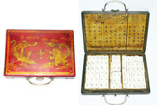144 Pieces Bamboo Bone Mah-jong Mahjong Set +2 Dice+ Red Leather Wood Dragon Box