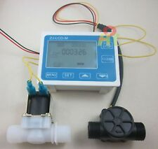 "G1/2"" Water Flow Control LCD Display+Flow Sensor Meter+Solenoid Valve Gauge"