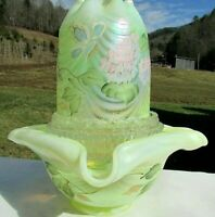 Fenton Topaz-Vaseline HP Hydrangeas 3 Pc Fairy Lamp Signed: Frank Fenton  #739