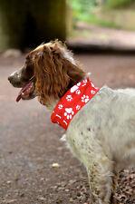 REFLECTIVE  *RED*  PAW & BONE PRINT DOG SCARF - RUFFNEK® scarf/bandana for dogs