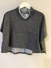 Zella Girl Heather Black Gray Mock Neck Pullover Poncho Crop Top Medium 8-10