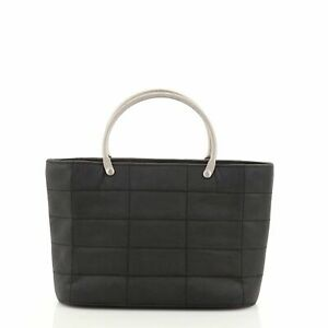 Chanel Vintage Chocolate Bar Tote Quilted Nylon Mini