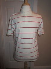 SS SHIRT -Country Cottons - Polo Style - White/Red Stripe - Sz L - NWT