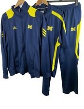 Adidas Michigan Wolverines Men's XL Warmup Track Suit w/ Jacket, Polo & Pants