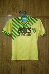 Norwich City FC Asics Football Shirt Home 1989/1990/1991/1992 Boys Kids Size LB