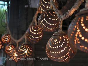 Neu Asiatische Holz Hängelampe von Kokosnussschalen, Lampe Licht, Nachtlicht