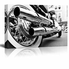 Canvas Prints Wall Art - Motorcycle/Motor Bike in Black and White Style- 24 x 36