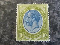 SOUTH AFRICA POSTAGE STAMP SG16 10/- BLUE/OLIVE LIGHTLY MOUNTED MINT