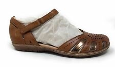 Earth Women's Camellia Cahoon Mary Jane Flat Sandals Brown Leather Size 8 M US