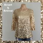 Gold Sequin Evening Top, Glamorous, Elegant, Size 10, 3/4 Sleeve