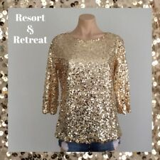 Gold Sequin Evening Top, Glamorous, Elegant, Size 10, 3/4 Sleeve