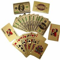 24K Gold Foil Plated Poker Plastic Gold Playing Cards $100 Benjamin Franklin New