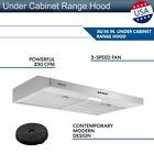 30/36 inch Under Cabinet Range Hood 230CFM Stainless Steel 3 Speed Kitchen Vent photo