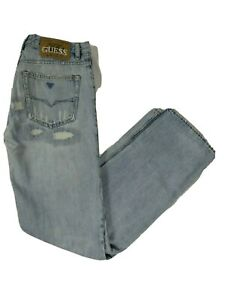 Guess Men's Light Wash Blue Denim W32L34 Distressed  Sunset Jeans  Trousers