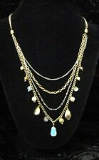 Express Brand 4 Layer 2 Tone Necklace w/ Opalite, Pearls & Cats Eye