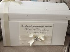 IVORY/WHITE  WEDDING POST BOX PEARL CLUSTER WEDDING CHEST EVERY COLOUR NEW