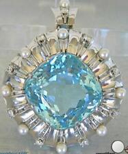 Damen Anhänger für Ketten mit Aquamarin Brillanten Perlen 14 Kt. Gold