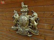 More details for royal coat of arms, very large wall plaque. queen crest warrant. antique gold.