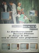 PUBLICITE DE PRESSE DUCRETET THOMSON TELEVISION MODELES LUXES FRENCH AD 1966