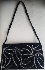 Black beaded and sequence evening bag