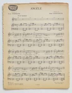 Partition vintage sheet music BOURVIL : Angèle * 60's Jean Constantin