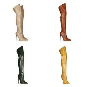 Womens High Stiletto Heel Faux Crocodile Leather Pointed Toe Zip Over Knee Boots