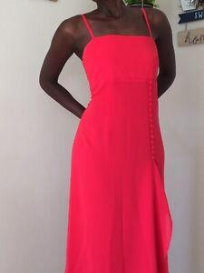 Elinette ladies maxi coral dress size 38 uk 10 vintage style spagetti strap