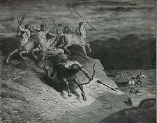Dantes Inferno by Gustave Dore - Original Antique Engraving Matted Framed Print