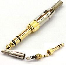 6.35mm Male to 3.5mm 3 Pole Male Repair headphone Jack Plug Metal Audio Solder