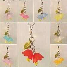 ♥ Dream-Pearls Charm Anhänger Blume Blüte Glockenblume türkis weiß rot blau ♥