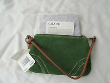 NWT COACH Wristlet Clutch Handbag Green Suede Leather