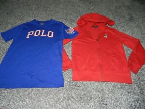 LOT 2 POLO RALPH LAUREN TEDDY BEAR HOODIE in RED & POLO USA FLAG SHIRT YOUTH LGE