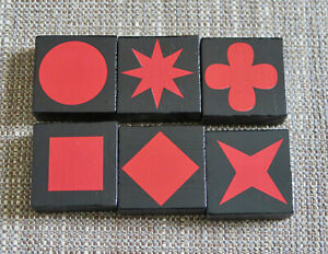 Qwirkle Red Tile Set (6) 2010 replacement (Excellent Condition) Standard Size