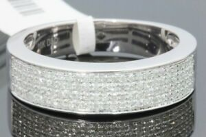 10K WHITE GOLD .46 CT REAL DIAMOND MENS WEDDING RING ANNIVERSARY ENGAGEMENT BAND