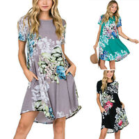 Plus Size Women Summer Beach Floral Loose Long Dress Holiday Baggy Tunic Dresses