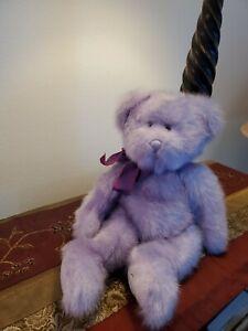 "Russ Berrie UK Aphrodite Lavender Bear Purple Haze 14"" Plush ""Love"" On Paw"