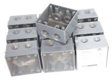 "LOT OF 10 NEW BELL OUTDOOR 5388-0 DEEP TWO GANG BOXES FIVE 3/4"" OUTLETS 53880"