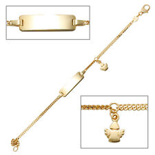 NEU echt Gold Kinder Baby Armband 585er Gelbgold 14 Karat Gravurplatte Engel